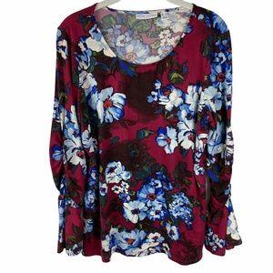 Susan Graver Soft Knit Top Size Medium Red Floral